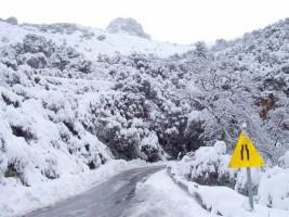 Strassen unter Schnee in Kreta